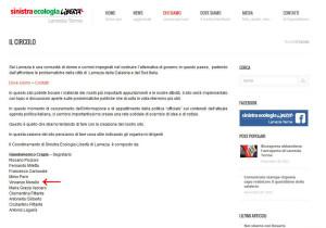 Schermata pagina web circolo SEL Lamezia al 1 marzo 2015