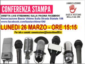 "SS 106: lunedi' conferenza on line associazione ""Basta vittime"""