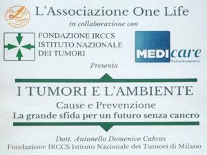 """Lamezia: convegno dell'Associazione """"One Life"""" su """"I tumori e l'ambiente"""""""