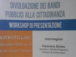 Castrovillari: Workshop sui bandi pubblici