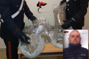 Droga: 4 kg marijuana in valigia e a casa, arrestato a Turianova