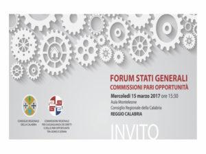 Regione: Forum Stati Generali Pari Opportunità Calabria
