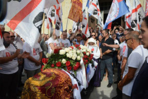 Militanti sardisti e Borghezio all'addio a indipendentista Meloni