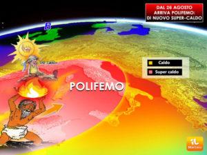 Caldo: sole e clima fresco, poi alla fine del mese ecco Polifemo