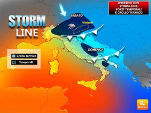 """Meteo: con """"Storm line"""" temporali e crollo termico"""