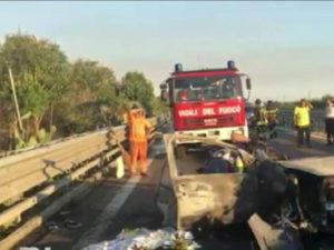 Incidenti stradali: identificati i 3 morti carbonizzati a Trani