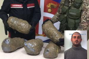 Droga: trovato con 5 chili di marijuana arrestato