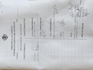 Provincia Cosenza: Iacucci sigla intesa contratto decentrato personale