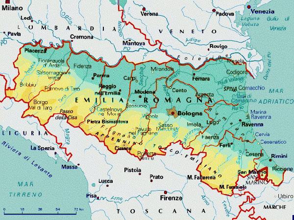 Cartina Fisico Politica Emilia Romagna.Cartina Emilia Romagna Lamezia Oggi