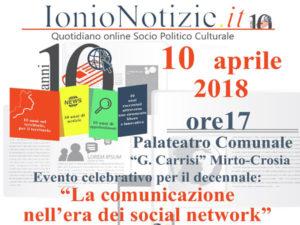 Informazione: IonioNotizie.it compie dieci anni