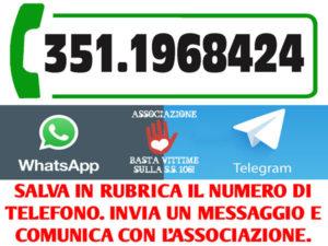 """SS 106: associazione """"basta vittime"""" attiva numero Whatsapp"""