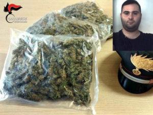 Droga: viaggia con un chilo di marijuana, 23enne arrestato dai Carabinieri