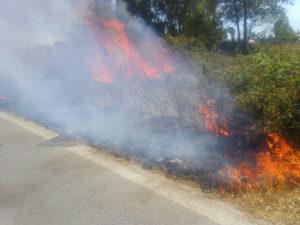 Incendio nei pressi della 106, chiuso tratto a Montegiordano