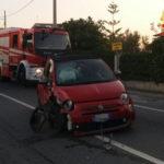 Incidenti: Fiat Cinquecento si ribalta sulla 106 catanzarese