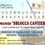 """Cosenza: alla Provincia un Convegno """"Decreto sblocca cantieri"""""""