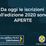 Partite le iscrizioni del 'Calabria Fest tutta italiana 2020'